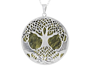 Tree of Life Connemara Marble Sterling Silver Pendant With Chain