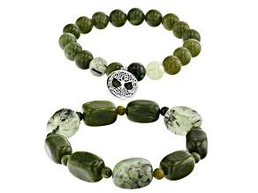 Connemara Marble, Prehnite Tree of Life Silver Set of 2 Bracelets