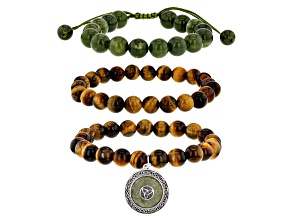 Round Connemara Marble And Tigers Eye Sterling Silver Set of 3 Bracelets