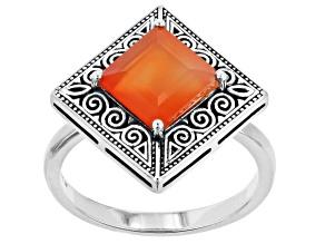 Orange Carnelian Sterling Silver Ring