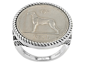 Picture of Sterling Silver 6 Pence Irish Wolfhound Coin Ring