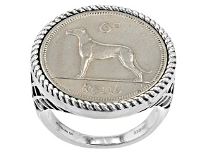 Sterling Silver 6 Pence Irish Wolfhound Coin Ring