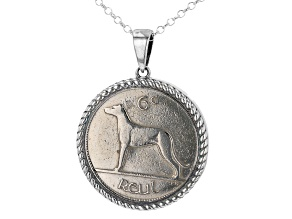 Sixpence Irish Wolf Hound Sterling Silver Pendant With Chain