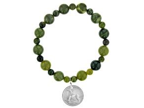 Sixpence Irish Wolf Hound Marble Stretch Bracelet