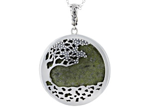 Fairy Tree Connemara Marble Sterling Silver Pendant With Chain