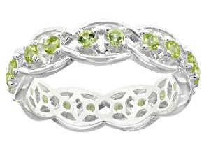 Peridot Forever Knot Sterling Silver Ring 0.04ctw