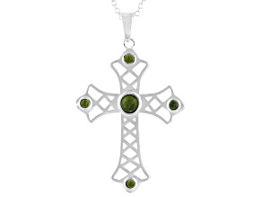 Green Connemara Marble Sterling Silver Cross Pendant With Chain