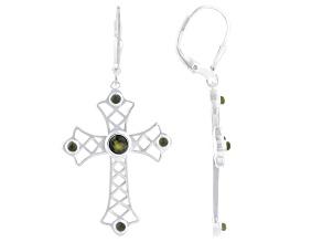 Green Connemara Marble Sterling Silver Cross Earrings