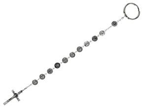 Silver Tone Brass Saint Rosary Key-chain