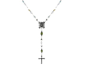 Green Connemara Marble With Multi-Color Glass Beads Silver-Tone St. Michael Protection Rosary