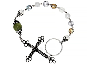 Green Connemara Marble Glass Beads Antique Tone Rosary Keychain
