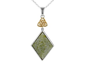 Trinity Knot Connemara Marble Sterling Silver Two-Tone Pendant With Chain