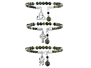 Connemara Marble  Silver-Tone Over Brass Set of 3 Bracelets