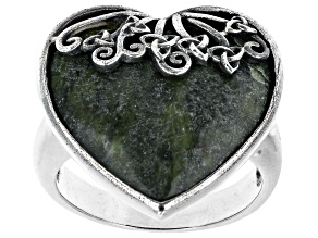 Connemara Marble Sterling Silver Trinity Knot Heart Ring