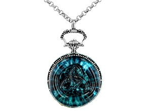 Blue Crystal Silver-Tone Trinity Pendant With Chain
