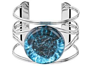 Blue Crystal Silver-Tone Bracelet