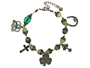 Green Crystal And Connemara Marble Antiqued- Tone Lucky Charm Bracelet