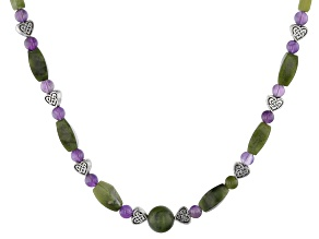 Amethyst and Connemara Marble Silver-Tone  Necklace
