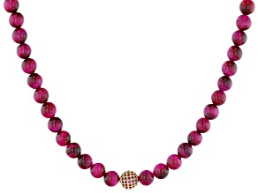 Pink Tigers Eye and Pink Crystal Gold-Tone Adjustable Necklace
