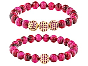 Pink Tigers Eye and Pink Crystal Gold-Tone Set of 2 Stretch Bracelets