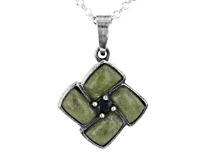 """7x4mm Rectangle Connemara Marble With Black Spinel Sterling Silver Pendant With 24"""" Chain"""