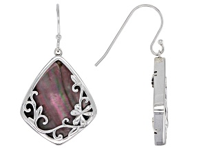 Black Mother of Pearl Sterling Silver Swirl Shamrock Earrings