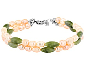 Cultured Freshwater Pearl And Connemara Marble Silver Tone Bracelet