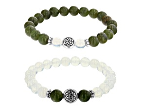 White Lab Crated Opal And Green Connemara Marble Silver Tone Set of 2 Bracelets