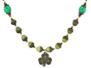 Connemara Marble With Green Crystal Antiqued-Tone Necklace