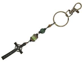 Connemara Marble Antiqued-Tone Iona Cross Key Chain