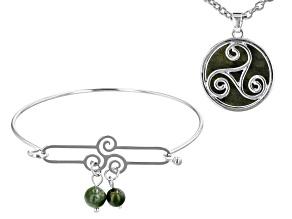 Green Connemara Marble Triskele Silver-Tone Bangle And Pendant Set