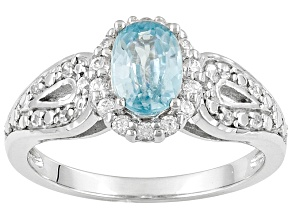 Blue Zircon 1.26ctw With .43ctw White Zircon Sterling Silver Ring