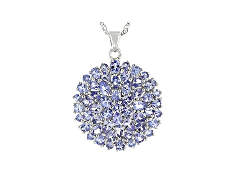 7.71ctw Pear Shape, Round And Oval Tanzanite Sterling Silver Pendant With Chain
