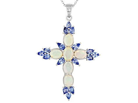 2.80ctw Ethiopian Opal And 2.46ctw Tanzanite Silver Cross Pendant With Chain
