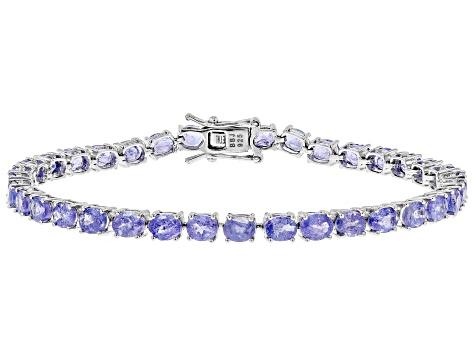 10 29ctw Oval Tanzanite Sterling Silver Tennis Bracelet