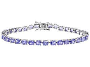 10.29ctw Oval Tanzanite Sterling Silver Tennis Bracelet