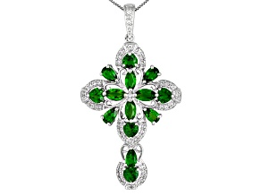 3.56ctw Russian Chrome Diopside With .37ctw White Topaz Sterling Silver Cross Pendant With Chain