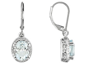 Womens Dangle Solitaire Earrings Oval Blue Aquamarine 3.40ctw Silver