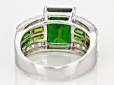 3.40ct Emerald Cut With 1.00ctw Baguette Chrome Diopside And .80ctw Round White Topaz Silver Ring