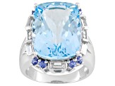 18.20ct Glacier Topaz ™ With .36ctw Tanzanite And .90ctw White Topaz Sterling Silver Ring