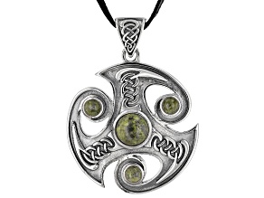 """Connemara Marble Silver Spiral Men's Pendant With 32"""" Leather Cord"""