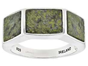 Connemara Marble Sterling Silver 3 Stone Men's Ring