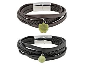 Connemara Marble Silver Over Brass Set of 2 Men's Leather Bracelets