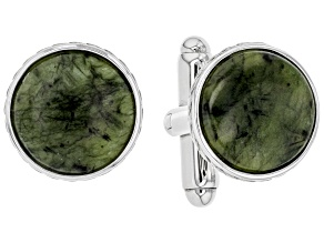 Connemara Marble Rhodium Over Brass Men's Cufflinks