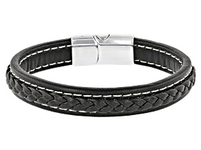 Silver Tone Leather Braided Design Men's Bracelet