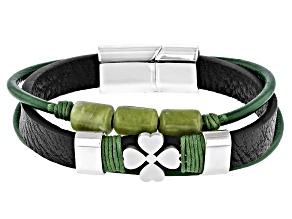 Connemara Marble Silver Over Brass 4 Leaf Clover Men's Bracelet