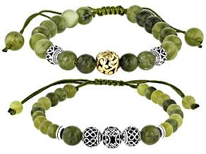 Connemara Marble Silver & Gold Tone Set of 2 Men's Bracelets