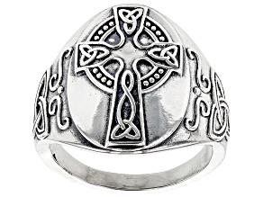 Celtic Cross Sterling Silver Men's Ring