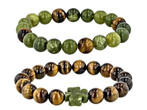 Connemara Marble With Tigers Eye Shamrock Elastic Set of 2 Men's Bracelets