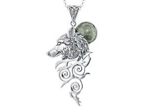 Green Connemara Marble Wolf Pendant With Chain